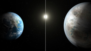 This artist's concept compares Earth (left) to the new planet, called Kepler-452b, which is about 60 percent larger in diameter. Credits: NASA/JPL-Caltech/T. Pyle.